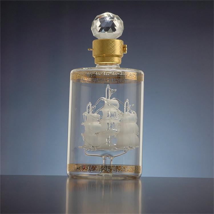内置帆船玻璃酒瓶厂家定制工艺酒瓶包装