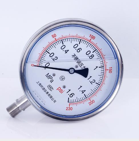 Y150-BFZ耐振压力表-温州径向直接安装式不锈钢耐振压力表-浙江不锈钢压力表供应-浙江不锈钢耐振压力表