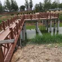 河道护栏厂家定做水泥仿树皮栏杆 仿木护栏外观美观质量保障优惠