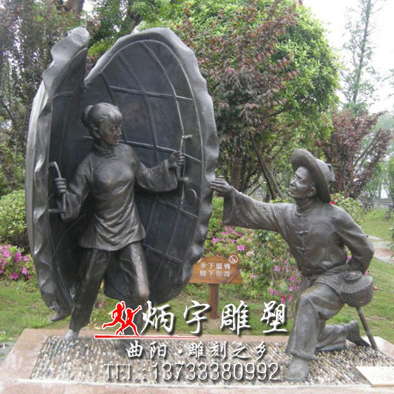 民俗人物雕塑人铸铜雕塑厂家 民间舞蹈表演人物雕塑 爱情主题人物约会雕塑 新郎背新娘娶亲雕塑 八路军抗战人物雕塑
