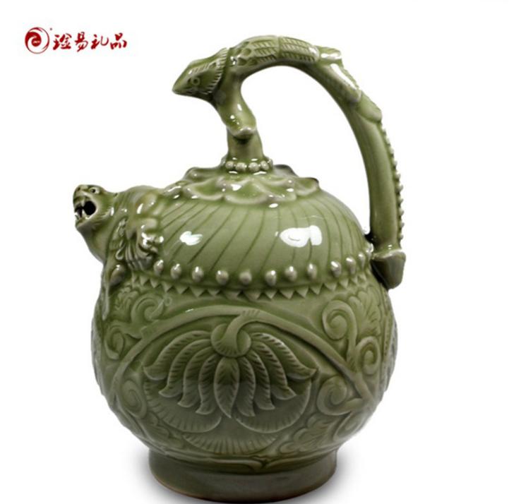 厂家直销耀州窑陶瓷摆件三件套创意陶瓷家居饰工艺品 一件代发