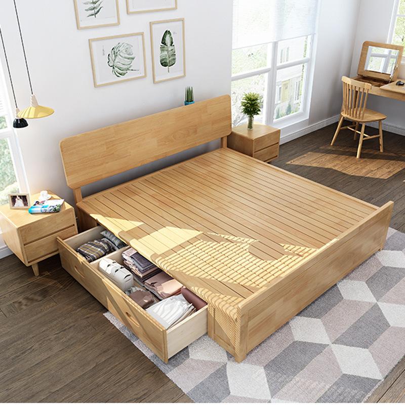 南康家具北欧全实木实木床1.8双人婚床带高箱源头产地厂家直销