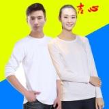 纯棉空白长袖广告衫  批发全棉白色汗布圆领文化衫印字
